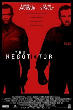 """""""The Negotiator"""" movie poster, 1998.  A skilled Chicago police negotiator (Samuel L. Jackson) accused of corruption and murder takes hostages in a government office to gain the time he needs to find the truth.  Enter another negotiator (Kevin Spacey) who tries to solve both dilemmas. The Quaker Oats Building and 77 West Wacker (the former headquarters of United Airlines) were used in key scenes."""