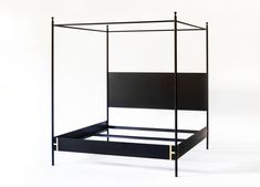 Josephine Black Metal Four Poster Canopy Bed — Doorman Black Bedding, Black Metal, Canopy Bed, Four Poster, Canopy, Bed, Bed Styling, Black Canopy Beds, Bed Price