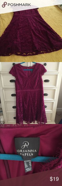 Adrianna Papell lace dress Fitted, lace dark magenta, perfect for a fall wedding, worn once, excellent condition, pet free, smoke free home. bundle and save with me on 2 or more, open to all decent offers.😀 Adrianna Papell Dresses