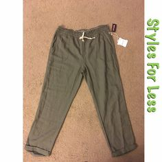 NWT Olive linen jogger pants Olive linen woven jogger pants. New with tags attached, new condition. Size: XL but these pants run a size smaller, so it would best suit an large. Color: Olive. Retailer: Styles For Less. Includes two front pockets and rolled cuffs at the bottom. Modeled reference in photo four. 55% Linen and 45% Rayon. Styles For Less Pants Track Pants & Joggers