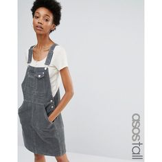 ASOS TALL Cord Dungaree Dress in Washed Khaki ($51) ❤ liked on Polyvore featuring dresses, green, pocket dress, dungaree dress, green pinafore dress, pinafore dresses and khaki dress