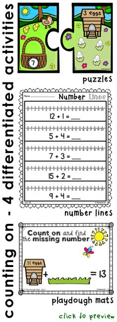 """4 extensively differentiated activities focusing on the skill of counting on.  Puzzles, number line activities, playdough/manipulative mats and an active learning activity """"Picture It"""" which focuses on making connections.  Available in color and black and white.  Click to preview.  $"""
