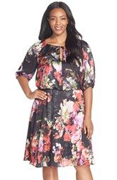 Adrianna Papell Floral Print Tie Neck Blouson Dress (Plus Size)