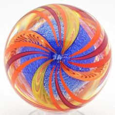 Contemporary handmade swirl marble over blue dichroic glass core - artist Geoffrey Beetem - 2011
