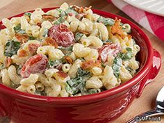 Okay, so you won't find any lettuce in this BLT Macaroni Salad, but we have put in extra-green and flavorful baby spinach. We think it gives this macaroni salad recipe a tasty new twist! Serve it to your gang and see how much they'll love it!