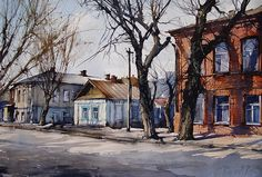 Vjacheslav Kurseev Watercolor Artists, Artist Painting, Watercolour, Academic Art, Scenery, Photo Wall, Cabin, Fine Art, House Styles