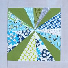 for the  [3 x 6] Sampler Quilt Mini Bee  Q3 2011, Hive 15  Blue, green, gray background