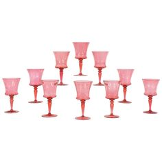 For Sale on - An unusual and rare set of ten Steuben large goblets in handblown crystal. The goblets have simple, elegant lines and proportions and one color throughout- Steuben Glass, Modern Glass, One Color, Pretty In Pink, Pink And Gold, Fashion Art, Glass Art, Candle Holders, Crystals