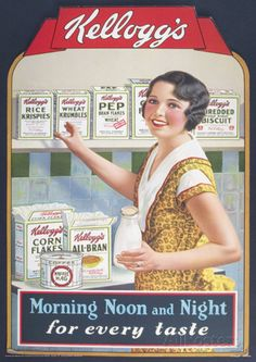 Image from http://imgc.allpostersimages.com/images/P-473-488-90/71/7115/HJRV100Z/posters/vintage-kelloggs-morning-noon-night-advertisment-poster.jpg.