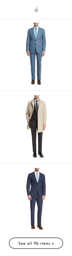 """""""d"""" by keis123 ❤ liked on Polyvore featuring men's fashion, men's clothing, men's suits, light blue, mens tailored suits, mens wool suits, mens light blue suit, giorgio armani mens suits, mens two piece suits and navy"""