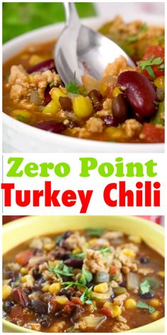 This turkey chili packs a lot of flavor and so many tastes in each bite - but the best part - it has ZERO POINTS. Weight Watchers Chili, Weight Watchers Meal Plans, Weight Watcher Dinners, Weight Loss Meals, Weight Watcher Crockpot Recipes, Weight Watcher Girl, Weight Watchers Freezer Meals, Weight Watchers Breakfast, Weight Watchers Points