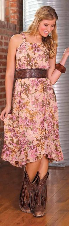Tan/Pink Floral Dress by #Wrangler #country #dresses