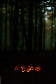 Scary Halloween Pumpkins in the Forest at Dusk by Mosuno - Stocksy United