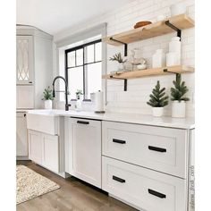 Modern Farmhouse Kitchens, Home Kitchens, Small Farmhouse Kitchen, Ikea Kitchens, Small Modern Kitchens, Cute Kitchen, Make Kitchen Look Bigger, Country White Kitchen, White Cottage Kitchens
