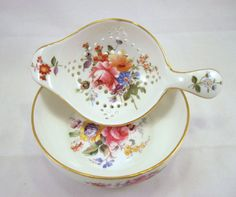 Royal Crown Derby Vintage Floral Tea Strainer by SpiralCreations