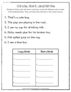 Worksheet | Circle, Sort, and Write | Circle words with short u and long u sound with different colors in each of the sentences. Then, sort them and write them in the correct columns.