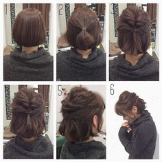 """Healthy mote hair arrangement"" that can teach easily for you - - frisuren, Work Hairstyles, Pretty Hairstyles, Braided Hairstyles, Easy Hairstyles For Short Hair, Bob Hairstyles How To Style, Buns For Short Hair, Short Hair Dos, Short Hair Bridesmaid Hairstyles, Styling Short Hair Bob"