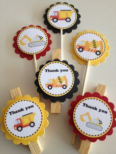 Construction, Digger, Tonka Cupcake Toppers And /or Party Bag Pegs