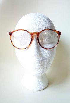 85af7c983356 Vintage Round 1980s Amber Tortoiseshell Frames Womens Eyeglasses Retro  Optical Frames Keyhole Bridge 80s Eighties Deadstock Ladies