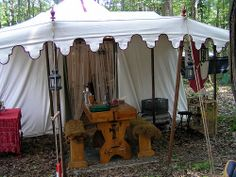 Nice encampment.  Love the fur on the benches.