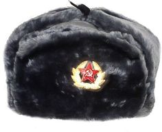 Hat Russian Soviet Army Air force Fur Military Ushanka * GR * Size L by Soviet Hats. $28.95