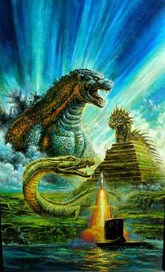 Godzilla and The Lost Continent Unpublished Cover - Bob Eggleton