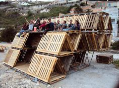 Temporary Hexa Structures Made from Old Pallets