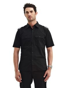 A tricked-out take on a collared short-sleeve shirt, this 4 oz. polyester short sleeve slim-fit shirt features epaulets, two chest patch pockets with button flaps, and back yoke. Back features large area for decoration. Urban Gear, Races Outfit, Men Style Tips, Shorts With Pockets, Men Casual, Menswear, Slim, Mountain, Mens Tops