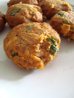 Sweet potatoe tuna cakes...use canned salmon?  Salmon works well, too.  Too much dill and salt, otherwise - a keeper.
