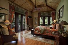 Unlike the neutral palette of British colonial style, tropical home design ideas (in their present form) include a lot of bright and brave tones and patterns West Indies Decor, Bedroom Design, British Colonial Decor, Tropical Bedrooms, Colonial Style, British Colonial Style, Tropical Home Decor, Colonial Bedroom, Remodel Bedroom