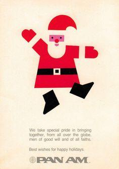 Retro Christmas ad for Pan Am Airlines Santa  #retro Christmas