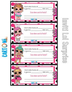 Inviti Lol Surprise Compleanno Notebook Labels, Surprise Box Gift, Panda Party, School Labels, Lol Dolls, New Years Eve Party, Unicorn Party, Printable Invitations, Label Design