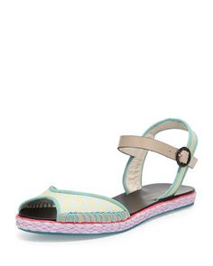 Marcela Flat Espadrille Sandal, Putty by Sophia Webster at Neiman Marcus.