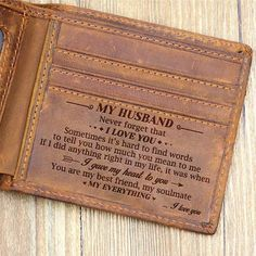 Leather Wallet For Dad - Perfect Gifts For My Dad - Engraved.- Leather Wallet For Dad – Perfect Gifts For My Dad by HeavenKP on - Great Gifts For Dad, Best Dad Gifts, Diy Gifts For Him, Perfect Gift For Dad, Gifts For Your Boyfriend, Gifts For Husband, Love Gifts, Gifts For Family, Surprise Boyfriend