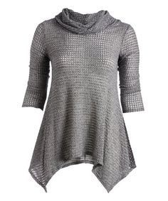Celeste Heather Black Cowl Neck Handkerchief Tunic - Plus | zulily