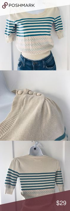 Urban Outfitters Cooperative Short Sleeve Sweater Stripes and dots on the cream back drop make this in an instant classic.  Cute 3 buttons on the shoulder and scalloped edges. Measures 26 inches armpit to armpit and 20.5 inches from shoulder to hem. Urban Outfitters Sweaters