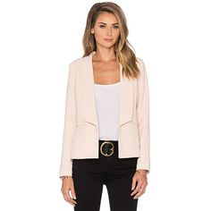 Greylin Krissa Pleated Back Blazer ($130) ❤ liked on Polyvore featuring outerwear, jackets, blazers, coats & jackets, pink blazer, greylin, pink jacket, blazer jacket and pink blazer jacket