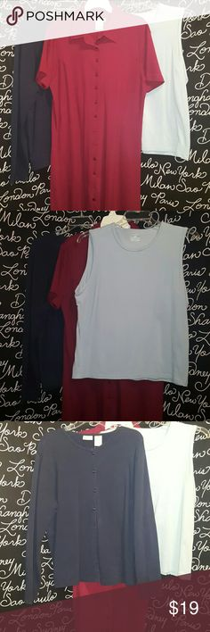 🍒3 item bundle dress. Cardigan tank This is a3 item bundle. One is a tank top shirt in light blue, long sleeve dark blue cardigan and a burgundy maxi dress. All of these items are in excellent condition really know sign of wear.   CARDIGAN  is 25 inches long.   MaxI dress 53 inches long.    tank top is 24 inches long.  All items are XL Dresses Maxi
