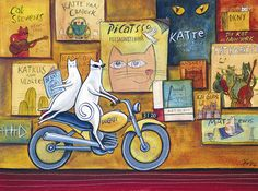 Cats on a Ducati Africa Art, Out Of Africa, Cool Paintings, Graphic Art, Graphic Design, Ducati, Cool Cats, Cat Art, Artsy Fartsy