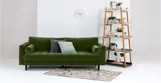Scott, un canapé 3 places, velours vert impérial | made.com