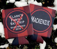 Buffalo Plaid Ski Party Coozies. Lumberjack party favors. Ski bachelorette, Ski vacation koozies
