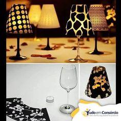 #FaçaVocêMesmo Pequeno abajur para decorar a mesa de jantar! Super criativo e simples, não acham?   Taça + Cúpula de papel + Velinha! #tudoemconsorcio