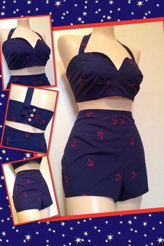 2 pc rockabilly pinup style sailor anchors play by MailOrderPinup, $85.00