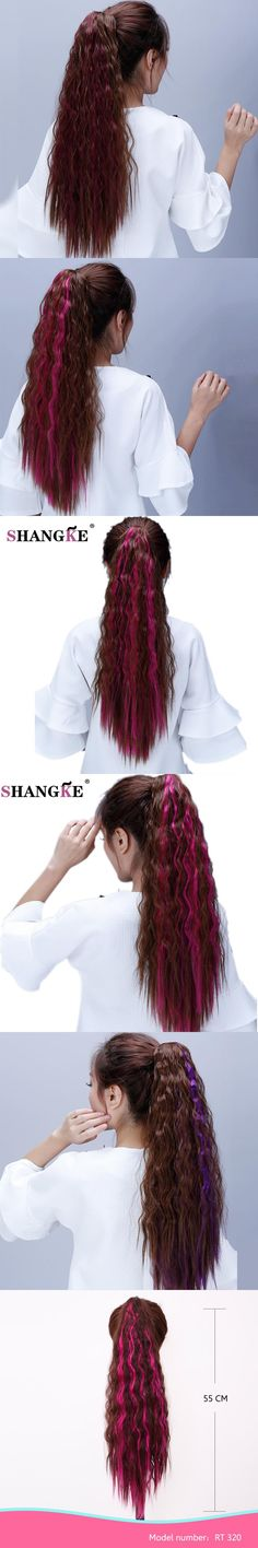 SHANGKE Long Claw Clip In Ponytail Kinky Curly Hair Extensions Heat Resistant Fake Hair Pony Tails Horse Tress Curly Hairpieces