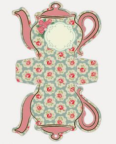 Shabby Chic Teapot Free Printable Boxes [D/L] Printable Box, Free Printables, Wonderland Party, Alice In Wonderland, Paper Tea Cups, Shabby Chic Paper, Mad Hatter Tea, Tea Art, Paper Dolls