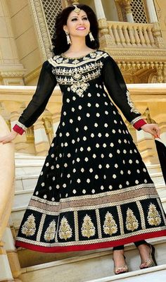 Redefine stylishness in this black faux georgette embroidered Anarkali suit. The butta, lace, patch, resham and stones work appears chic and ideally suited for any get together.  #LongAnarkaliEveningWear