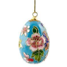 Turquoise Cloisonne Easter Egg Ornament