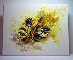 Eileen's Crafty Zone: Sweet Poppy Stencils, 10 x 8 inch Canvas Board and Brusho Paints.