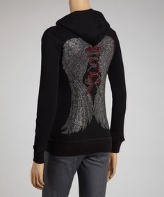 Bring on the glitz in this blinged-out zip-up hoodie! The lightweight fabric and added stretch make it a must for fashion friendly meet ups with the girls.