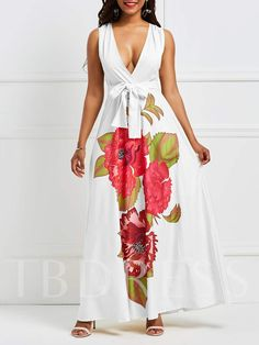 3e43c2c441  Affiliatelink Floor-Length Print Sleeveless V-Neck Women s Maxi Dress High  Waist